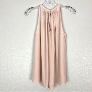 RAMY BROOK Soft Pink Flowy Designer Halter Top (S)